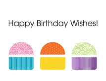 Colorful Cupcake Wishes Birthday Greeting Cards